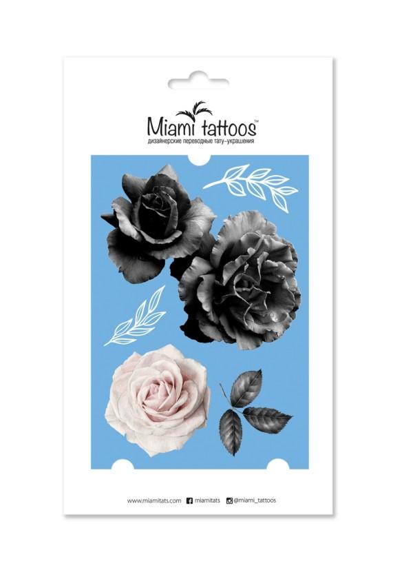 Переводные тату White&Black roses